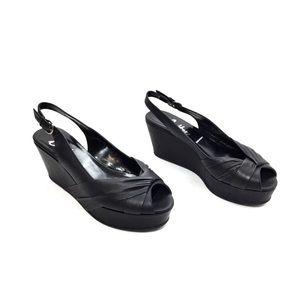 Butter Black Leather Platform Peep Toe Slingbacks